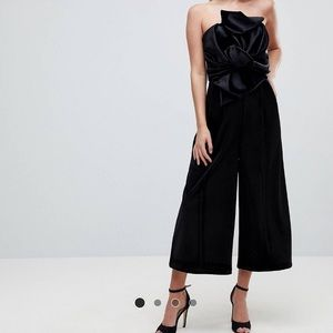 ASOS velvet jumpsuit with drape detail size 14